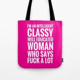 INTELLIGENT, CLASSY WOMAN (Magenta background) Tote Bag