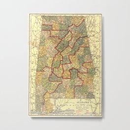 Vintage Map of Alabama (1911) Metal Print