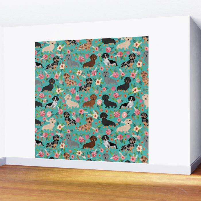 Dachshund florals flower pet portrait dog art dachsie doxie pet art dog breeds Wall Mural