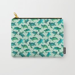 Green Polygon Turtle Pattern Carry-All Pouch