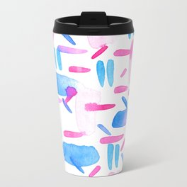 Blue Pink Diagonal Plaid Metal Travel Mug