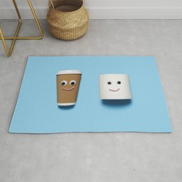 Happy toilet paper and coffee on blue Rug