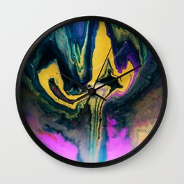 Fluid Acrylic Painting Bright Colorful Marbling Flow Wall Clock