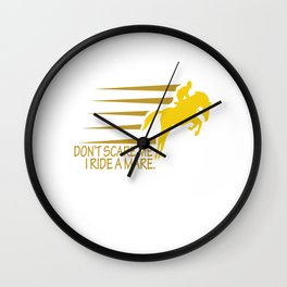 Don't Scare I Ride a Mare Equestrian Animal Horse Lovers Wall Clock