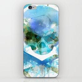 Watercolour Skull & Crossbones with Headphones. iPhone Skin