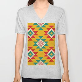 Bold and Vibrant Native Inspired Pattern on Yellow Unisex V-Neck