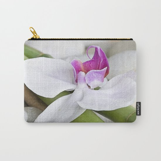 white Orchid flower  and green Bamboo still life Carry-All Pouch