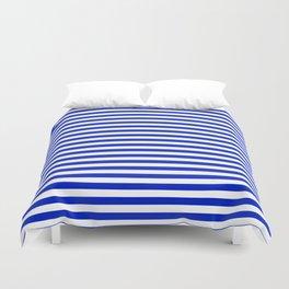 Cobalt Blue and White Thin Horizontal Deck Chair Stripe Duvet Cover