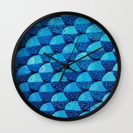 Fish 101 shades of blue Wall Clock