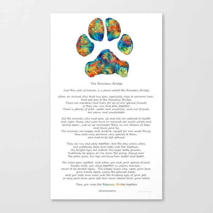photo relating to Starfish Poem Printable called Rainbow Bridge Poem With Vibrant Paw Print through Sharon Cummings Canvas Print by way of sharoncummings