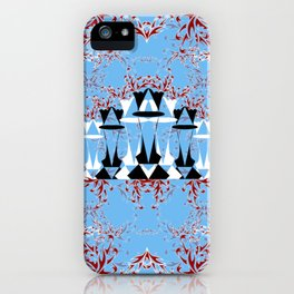Black and White Queens in Bloom (Sky Blue) iPhone Case