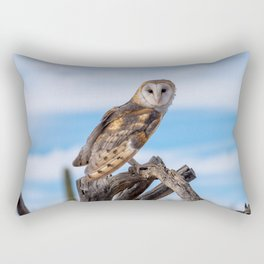 Barn Owk perched on branch Rectangular Pillow
