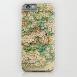 Vintage Map Print - A New Universal Atlas of the World (1825) - Iberia / Spain & Portugal iPhone Case