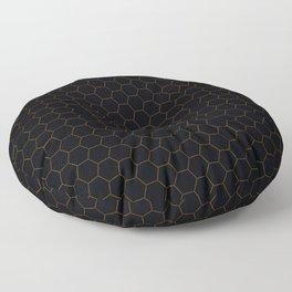 Black with fine line gold hexagon pattern Floor Pillow