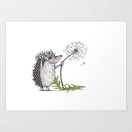 Hedgehog & Dandelion Art Print
