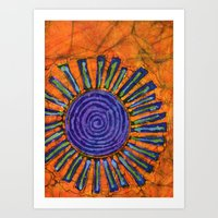 Orange and purple Floral batik Art Print