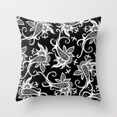 Paisley: Black and White Throw Pillow