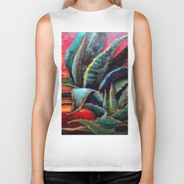 "WESTERN BLUE AGAVE ABSTRACT ""SHIP OF THE DESERT"" Biker Tank"