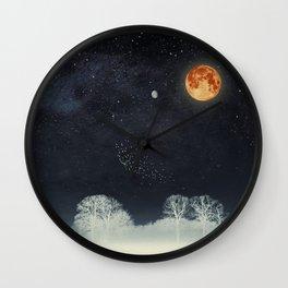 Venus and Moon Night Wall Clock