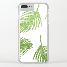 Glitter Palm Leaves Clear iPhone Case