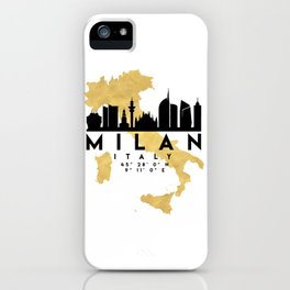 MILAN ITALY SILHOUETTE SKYLINE MAP ART iPhone Case