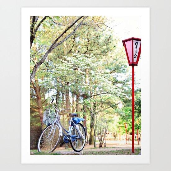 Bike, Cherry Blossoms, Red Lanterns in Park, Japan Art Print