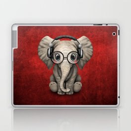Cute Baby Elephant Dj Wearing Headphones and Glasses on Red Laptop & iPad Skin