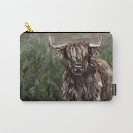 Highland Cow Painting, Landscape Acrylic Art Carry-All Pouch