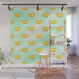 Summer watercolor oranges and marbleized design Wall Mural