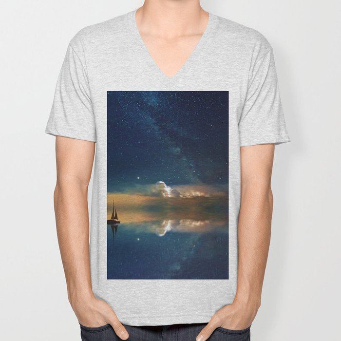 Sailboat in Space (Color) Unisex V-Neck