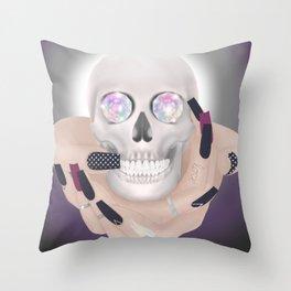 Gypsy Skull Crystal Eyes Throw Pillow