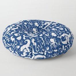Under The Sea Navy Blue Floor Pillow