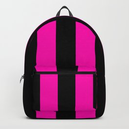 Bright Hot Neon Pink and Black Circus Tent Stripes Backpack