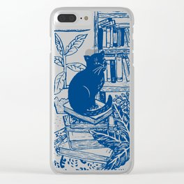 Sitting on a pile of books Clear iPhone Case