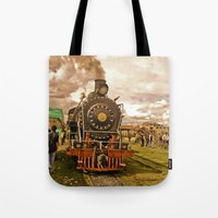 train Tote Bags featuring Train by Alejandra Triana Muñoz (Alejandra Sweet