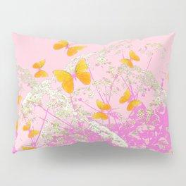 GOLDEN BUTTERFLIES IN PINK LACE GARDEN Pillow Sham