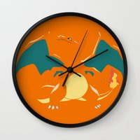 charizard Wall Clocks featuring Charizard by SEANLAR94