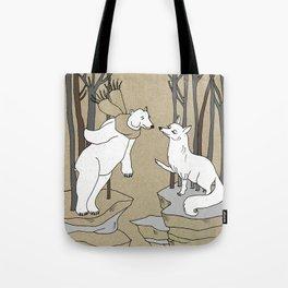 Arctic fox and Polar bear, Romeo and Juliet Tote Bag