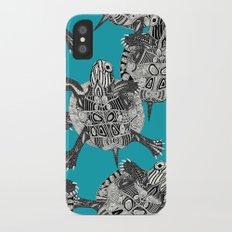 turtle party surf blue Slim Case iPhone X