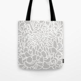 Gray Chrysanth Tote Bag