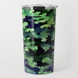 Foliage Abstract Camouflage In Forest Green and Black Travel Mug