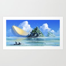 The Golden Whale Art Print