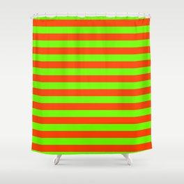 Super Bright Neon Orange and Green Horizontal Beach Hut Stripes Shower Curtain