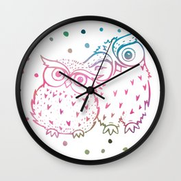 Owls - pink and blue Wall Clock