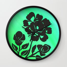 Green Silhouette Roses Varigated Background Acrylic Art Wall Clock