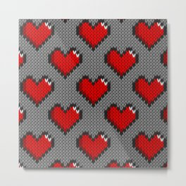 Knitted heart pattern - gray Metal Print