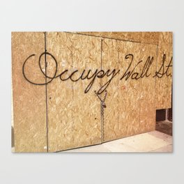 Occupy Wall Street on Storefront Photo Canvas Print