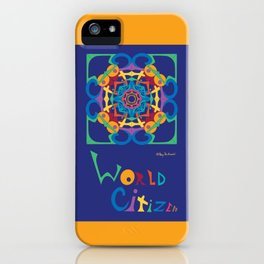 World Citizen Mandala with Word (top bottom) - Gold Blue Multi iPhone Case