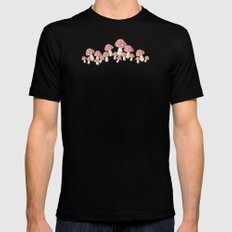 Mushrooms in Peach Mens Fitted Tee Black MEDIUM