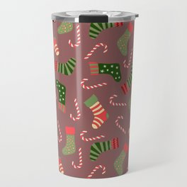 Hand painted green red white Christmas socks candy pattern Travel Mug